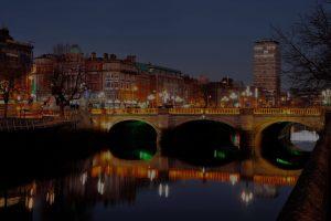 Bridge over a river in a city